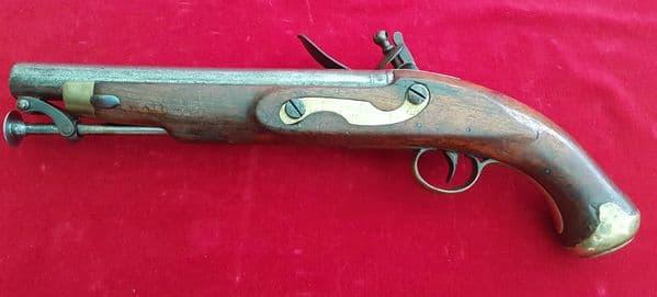 X X X SOLD X X X  A British military flintlock pistol by Cutler. Circa 1800.  Ref 1249